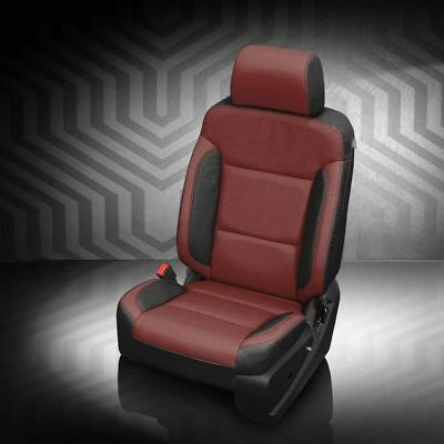 Medium Cherry Seat - KATZKIN BLK MED RED LEATHER SEAT CVR FIT 2016-2018 GMC SIERRA DOUBLE CAB 1500 WT