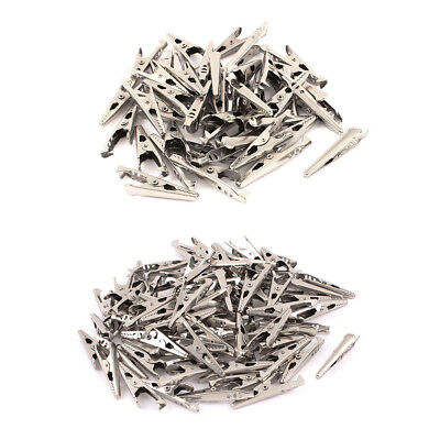 90pcs Mini Electrical Crocodilealligator Test Clip Clamp Jaw 10x42mm Silver Lw