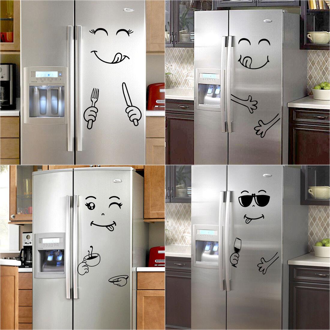 Home Decoration - Cute Sticker Fridge Happy Delicious Face Kitchen Fridge Wall Stickers Home Decor