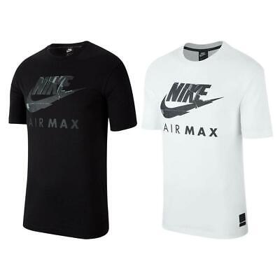 Nike Air Max Logo Mens T-shirt Sport Gym Fitness Tee Black White Grey Top