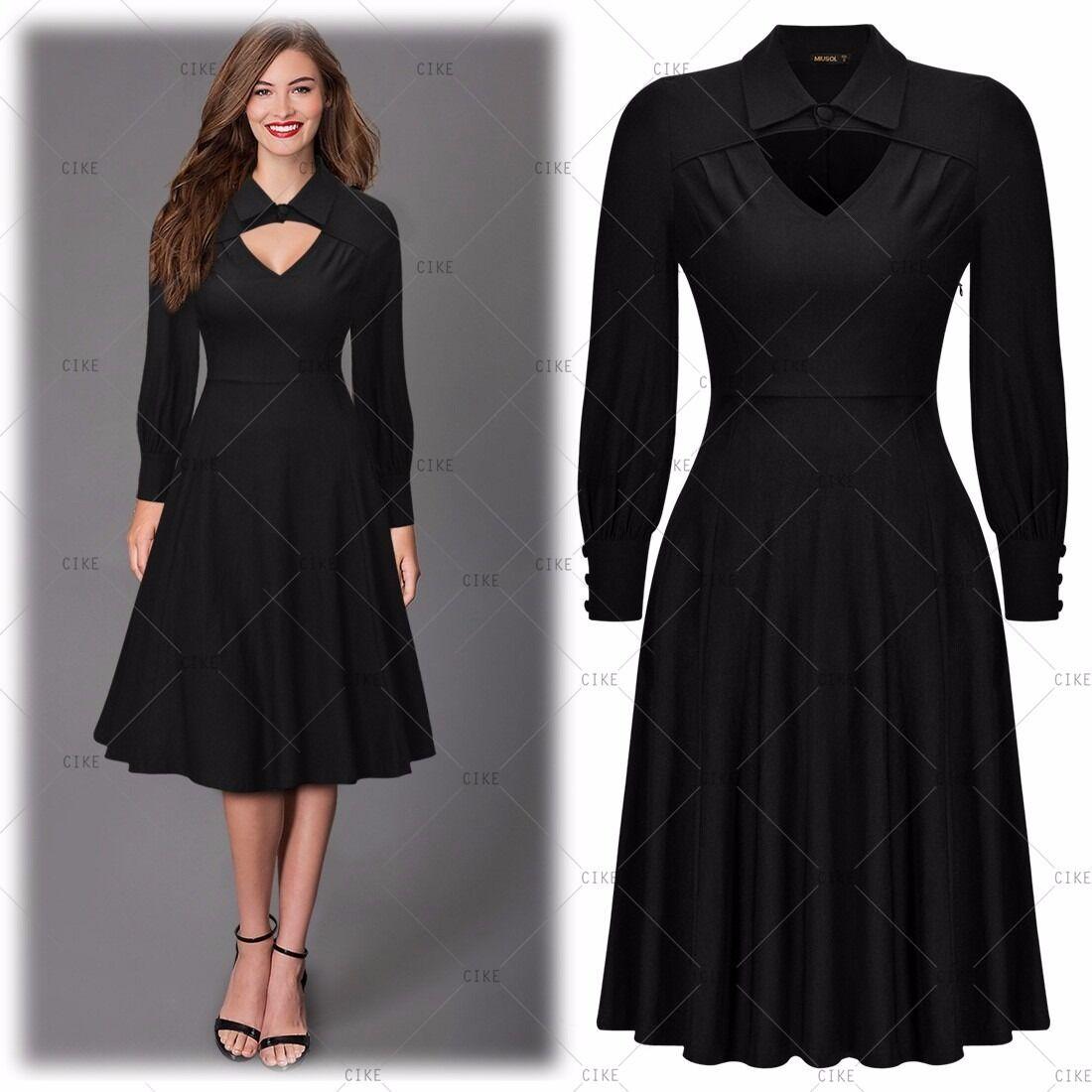 Womens V-Neck Vintage Wiggle 1950s Retro Party Dress Long Sleeve ...