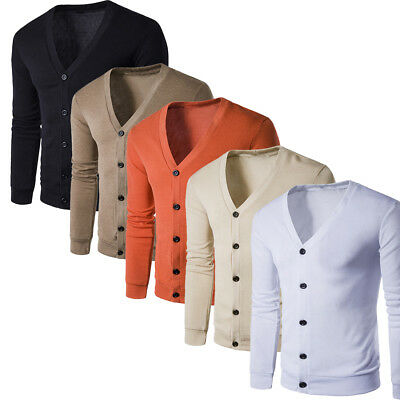 Men Casual Autumn Winter Button V-Neck Long Sleeve Knit Sweater Cardigan Coat ()