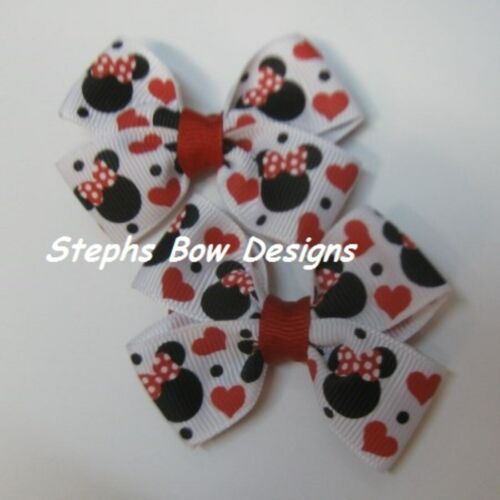 Lot 2 Minnie Mickey Mouse Red Hearts Dainty Pigtail Hair Bows Set Baby Toddler