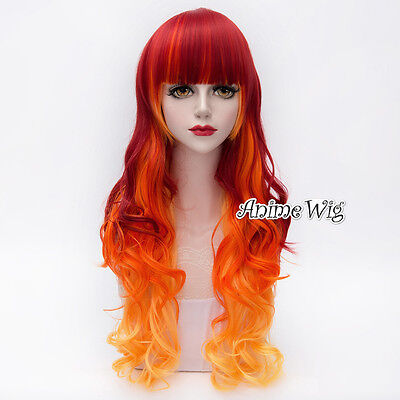 75CM Lolita Halloween Red & Orange Yellow Bang Ombre Long Curly Lady Cosplay - Red Wig Halloween