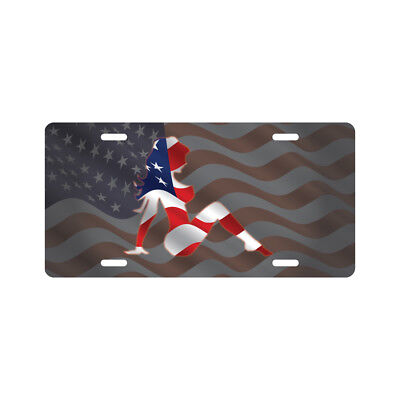 (Mud Flap Girl License Plate American Flag Novelty Tag)