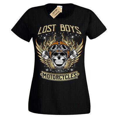 Lost boys Motorcycles T-Shirt biker clothing skull Womens Ladies Lost Cap Sleeve T-shirt