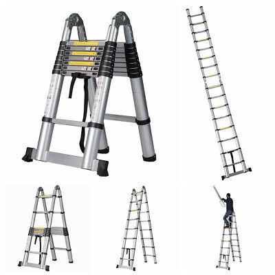 16.5 Ft En131 Folding Aluminum Multi Purpose Attic Telescoping Ladder Extension