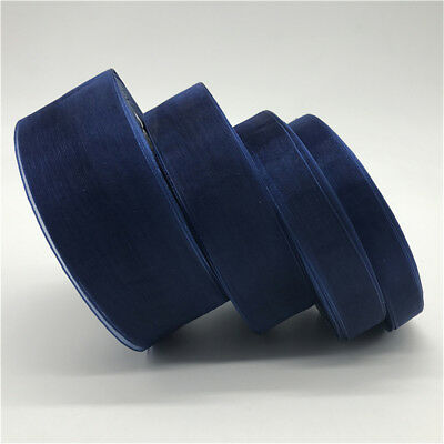 10-50mm 50yds Navy Blue Organza Ribbon Hair Bow Wedding Decoration Gift Wrapping