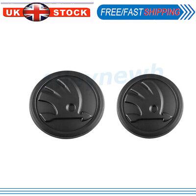 For Skoda Bonnet Boot Badge Cover 80mm 90mm Front Rear Emblem Hood Black Logo