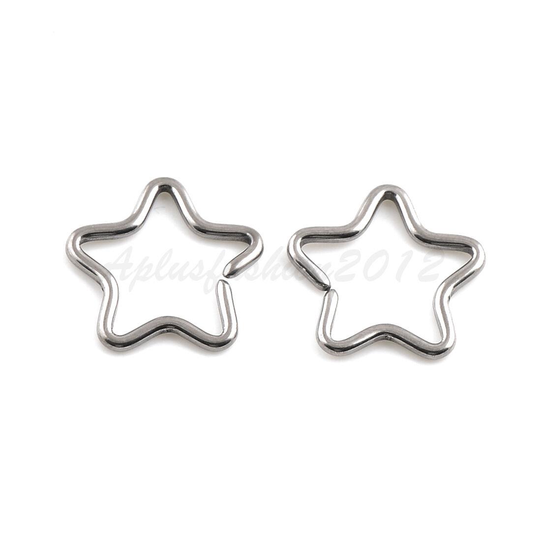 16G Titanium Star Shaped Ear Cartilage Daith Orbital Piercing Rings Stainless