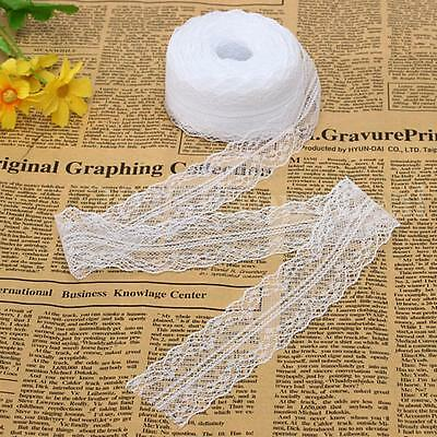 White 10 Yard 4cm Wide Embroidered Net Floral Lace Trim Ribbon Sewing Decor NEW