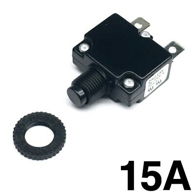 New 15 Amp Miniature Push Button Thermal Circuit Breaker 12-50v Dc 125-250v Ac