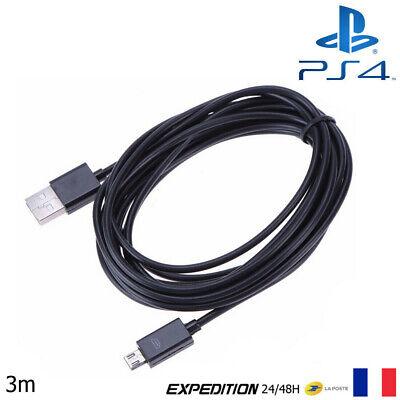 CABLE USB 3 mètres NOIR POUR RECHARGER MANETTE PLAYSTATION 4 PS4