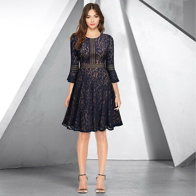 Women's A-Line Lace Cocktail Dress with Bell Sleeve for Any Event! - Belle Dress For Women