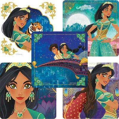 20 Aladdin Princess Jasmine STICKERS Party Favors Supplies for Birthday Loot - Jasmine Birthday Party Supplies