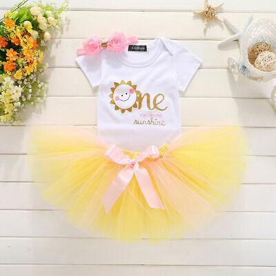 US One Years Old Toddler Baby Kids Girls Birthday Dress Romper+Tutu  Skirt - One Year Old Birthday