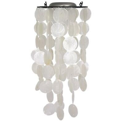Woodstock Chimes Capiz White Shells 61cm Handcrafted Garden Hanging Solar Light