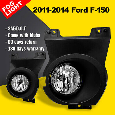 For 2011-2014 Ford F-150 black housing clear bumper replace fog lights pair+bulb