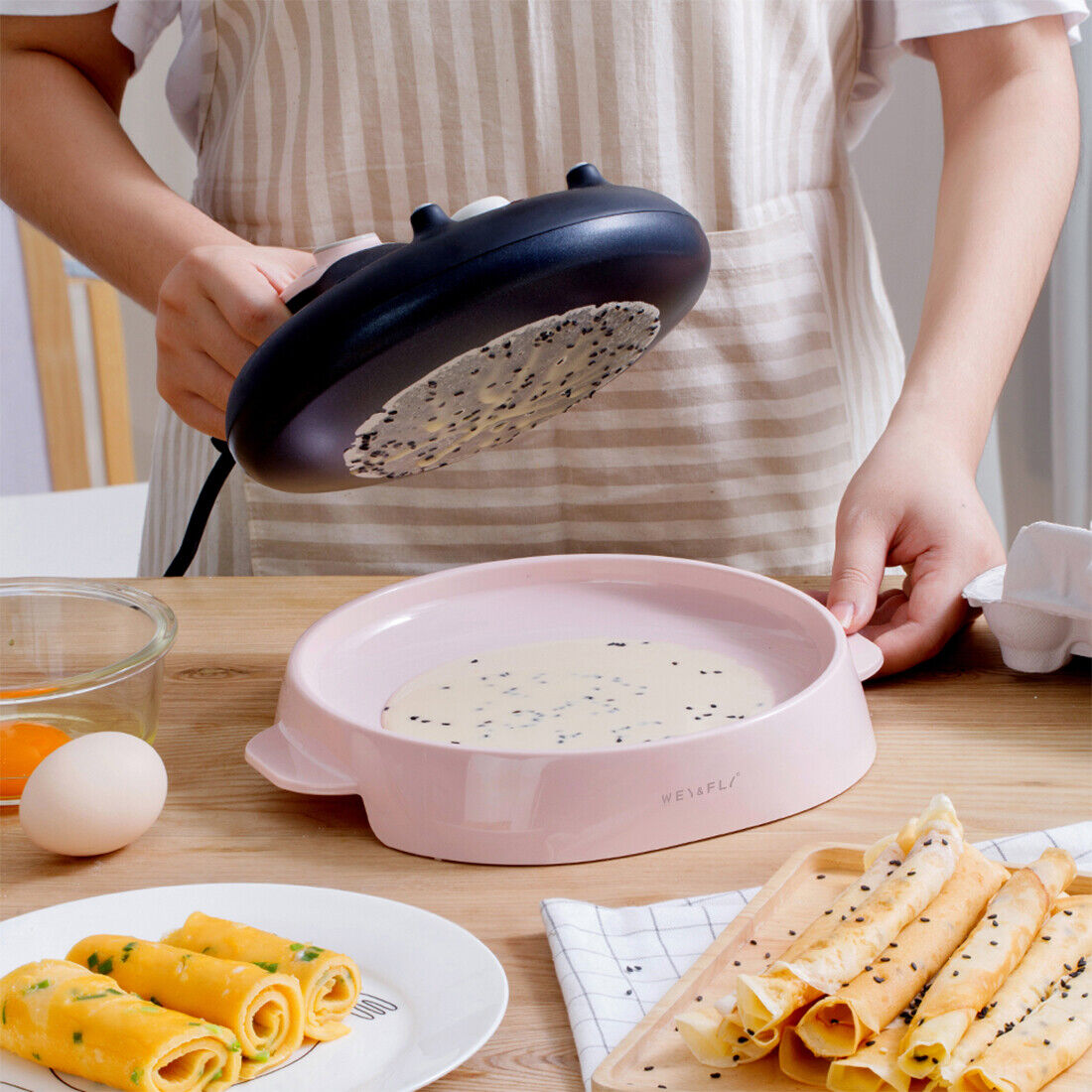 Crepe Maker Machine Pancake Griddle Nonstick Batter Spreader