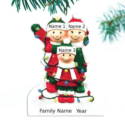 (Personalized Christmas Tree Ornaments Family of 3 4 5 Tangled In Lights Ornament)