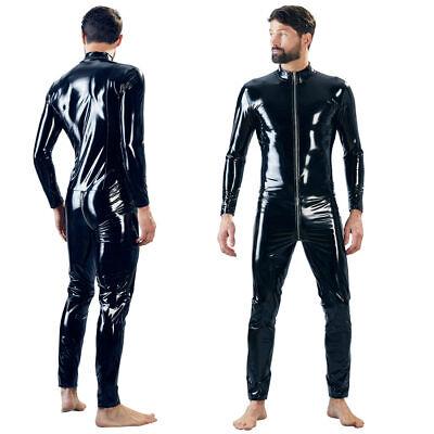 Herren Lack Overall M L XL Bodysuit Glanz Einteiler 3-Wege-Zip Stehkragen