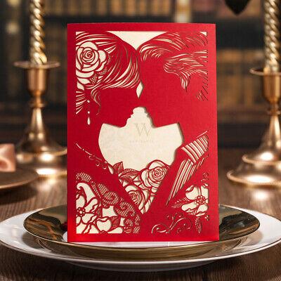 Kiss Couple Wedding Invitations Pocket Set Bride and Groom Bridal Shower Invite