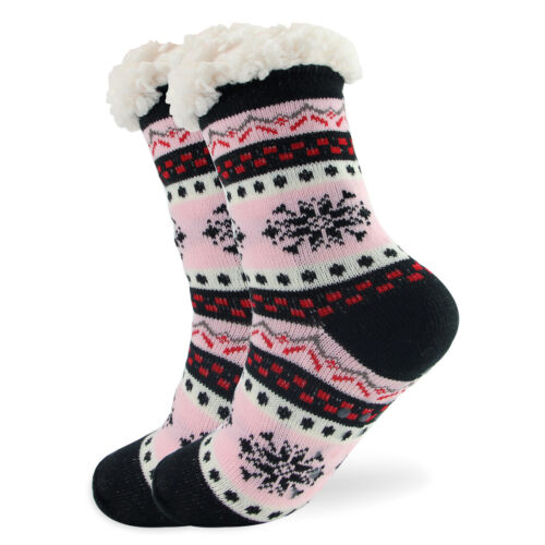 Women Socks Thick Knit Sherpa Lined Thermal Fuzzy Slipper Ch