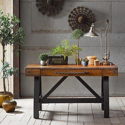 Rustic Wood Writing Desk Wdrawer Home Office Furniture Computer Workstation