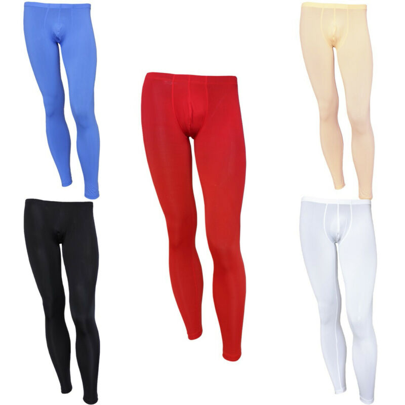 US/_Sexy Lingerie Mens Underwear Leather Look Long Johns Tight Pants Clubwear