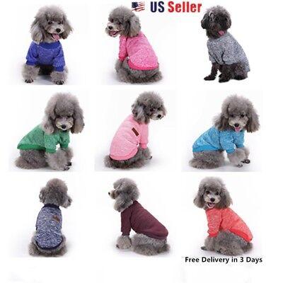 Small  Pet Dog Puppy Cat Winter  Sweater  Coat Jacket Clothes  Apparel 10 Colors
