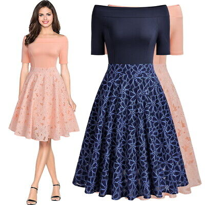 Women's A Line Lace Dress, Floral Vintage Style for Spring and Summer Occasions! - Floral Occasion Dress