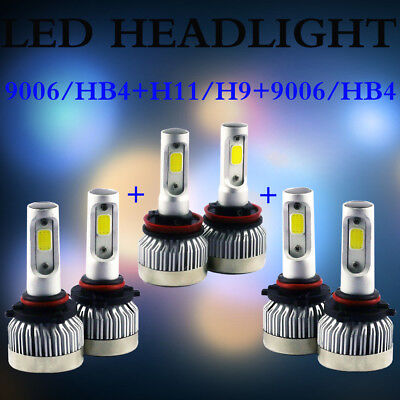 9006 9005 H11 Total 2940W LED Headlight High Low Beam Combo Kit 6500K White
