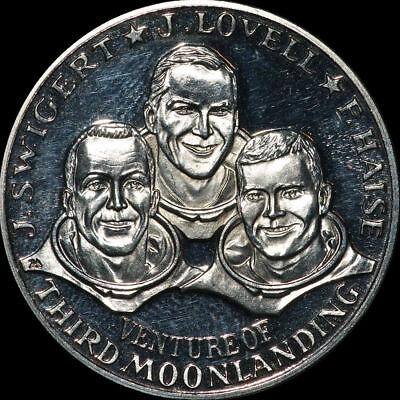 RAUMFAHRT: Silber-Medaille. J. SWIGERT - J. LOVELL - F. HAISE ⇒ APOLLO 13.