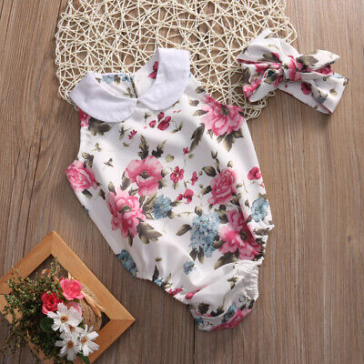 Infant Baby Girl Kid Flower Clothes Romper Bodysuit Jumpsuit Headband Outfit Top
