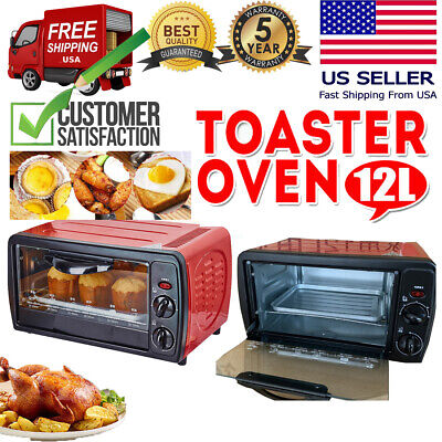 Toaster Oven Electric Mini Baking Cake Pizza Broiler Rotisserie Grill Food 12L