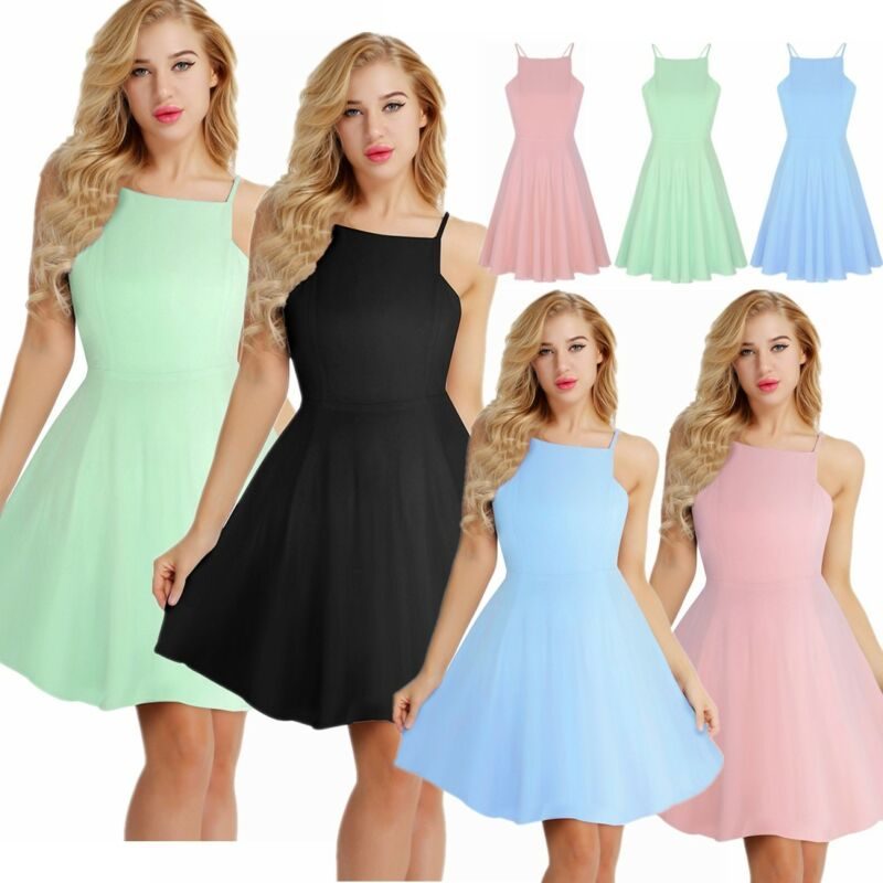 260a6952be Women's Summer Halter Sleeveless Party Evening Cocktail Flowy Swing ...