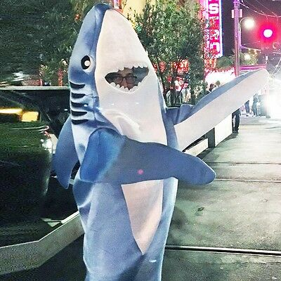 Scary Shark Attack Costume Funny Animal Mascot Fancy Dress Jumpsuit Adult & Kids (Scary Mascot Costumes)