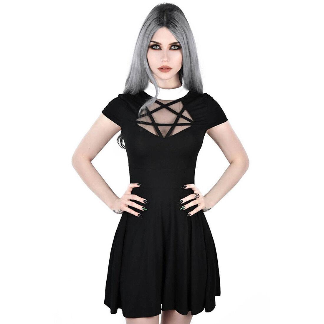 Killstar Gothic Goth Okkult Minikleid Skater Kleid - Hades Pentagramm Spitze