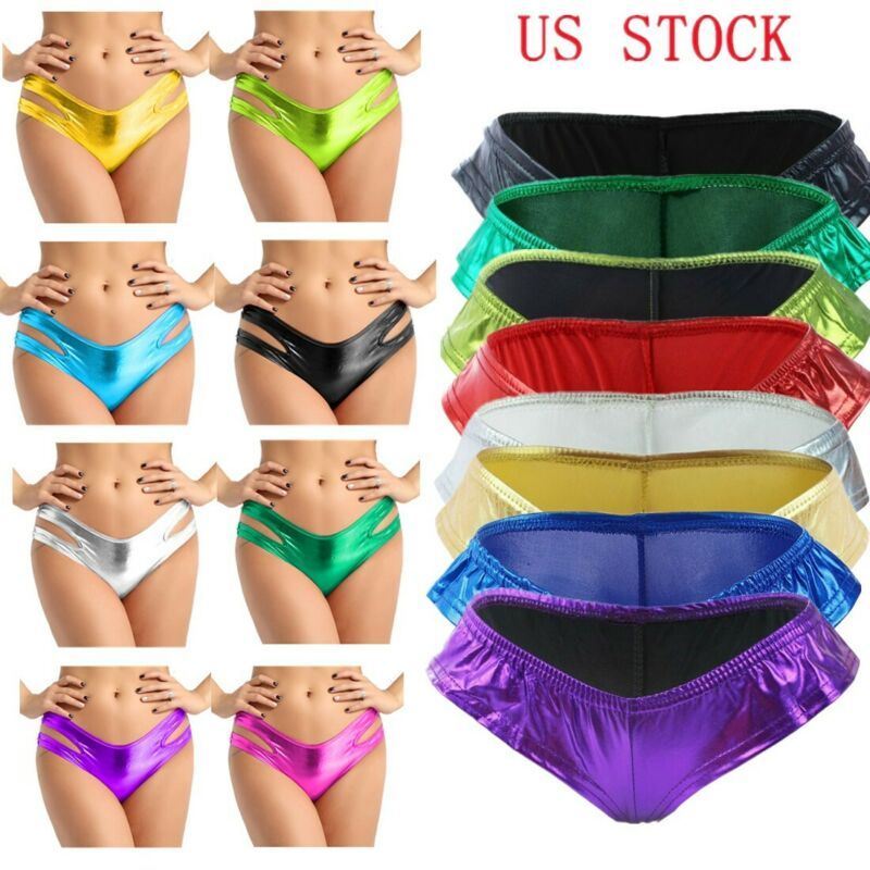V-string Metallic Lingerie G-String Micro Thong Underwear Panties Knickers