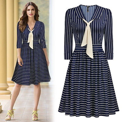 Women Elegant Striped Business Cocktail Party Workwear Casual Flare A Line Dress