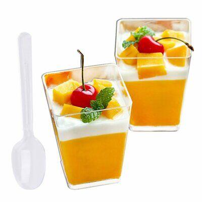 Square Plastic Cups (100 Pack 5 Oz Tall Square Clear Plastic Dessert Tumbler Cups)