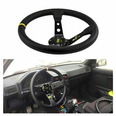 13.8 inch/350mm Suede Leather Deep Dish JDM Sport Racing Car Steering Wheel ONE 350mm Sport Leather Steering Wheel