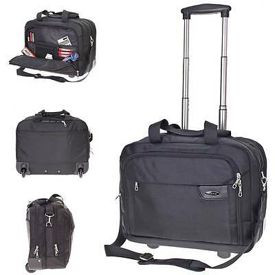 Business Trolley Pilotenkoffer schwarz Notebook-Trolley Laptop Koffer Rollen