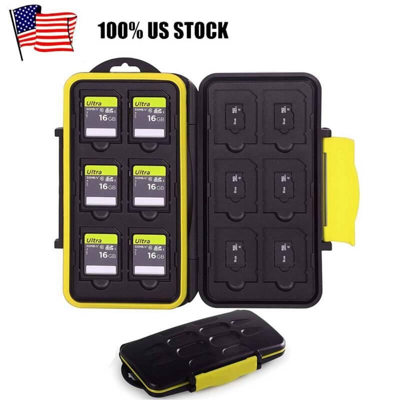 Waterproof Memory Card Case Holder Black fits 12 SD+12 Micro
