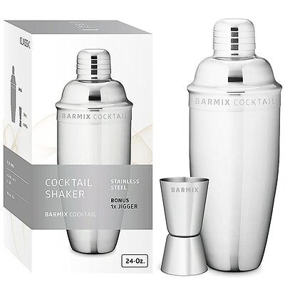 Bar Mix Cocktail Shaker Stainless Steel 24 Ounces Dishwasher Safe
