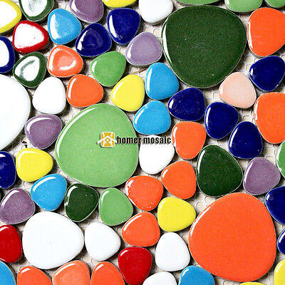 rainbow mixed color pebble ceramic tiles bathroom shower wall floor mosaic tile