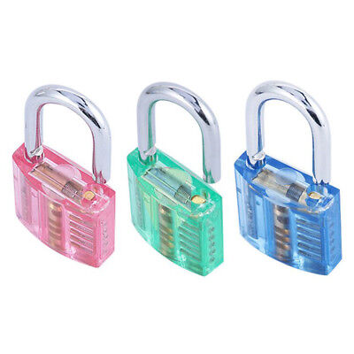 Practice Padlock Lock Training Skill Locksmith Transparent Cutaway 5 Colors Opti