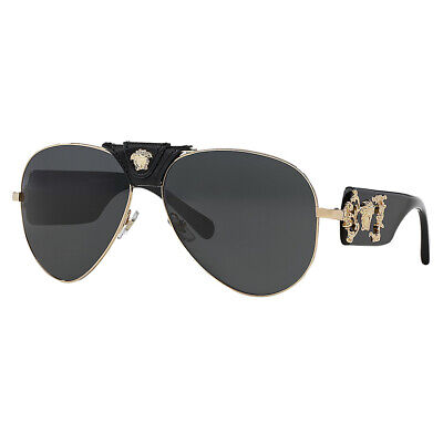 Versace VE2150Q Black/ Grey Baroque Aviator Sunglasses 62mm
