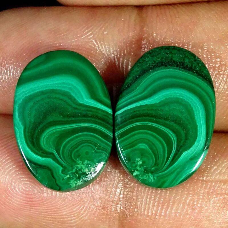 31.30Cts Natural Green Malachite Oval Pair Cabochon Loose Gemstone
