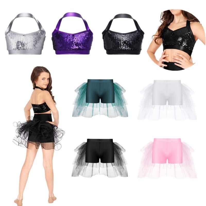Girl Sparkly Sequined Tank Tops Kid Gymnastic Performance Show Underwear Costume